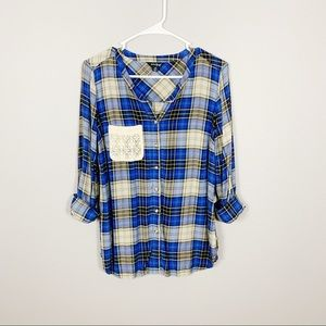 Lucky Brand Plaid Button Down Lace Pocket Top